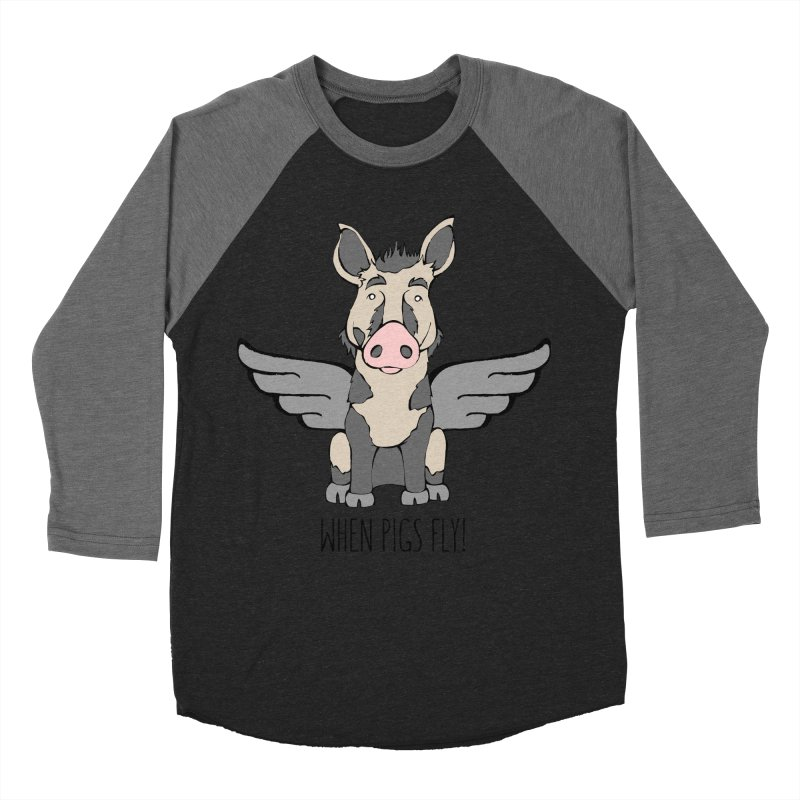 When Pigs Fly: Ossabaw Island Men's Baseball Triblend Longsleeve T-Shirt by Angry Squirrel Studio