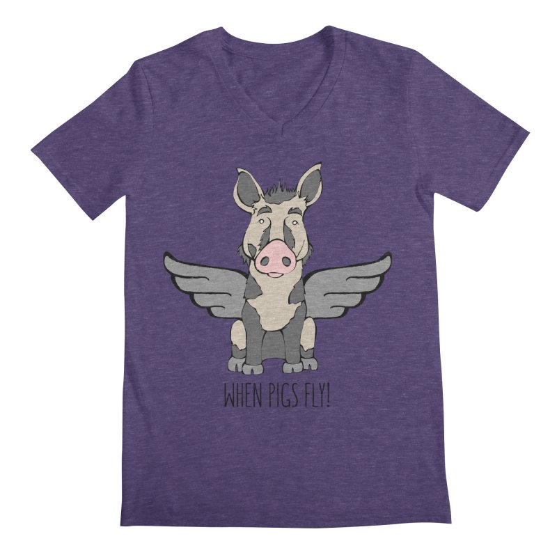 When Pigs Fly: Ossabaw Island Men's Regular V-Neck by Angry Squirrel Studio