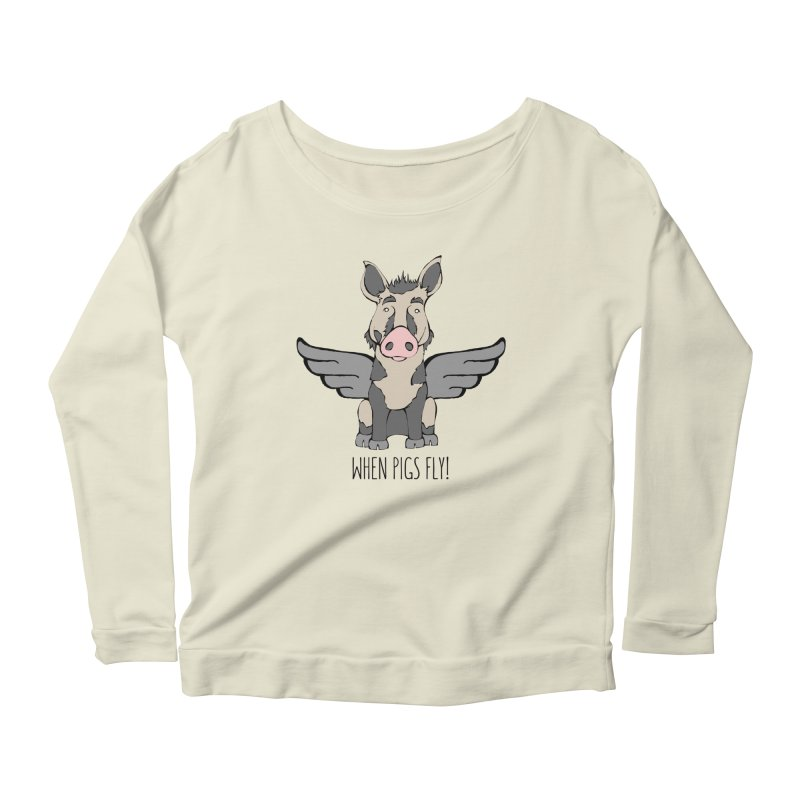 When Pigs Fly: Ossabaw Island Women's Longsleeve Scoopneck  by Angry Squirrel Studio
