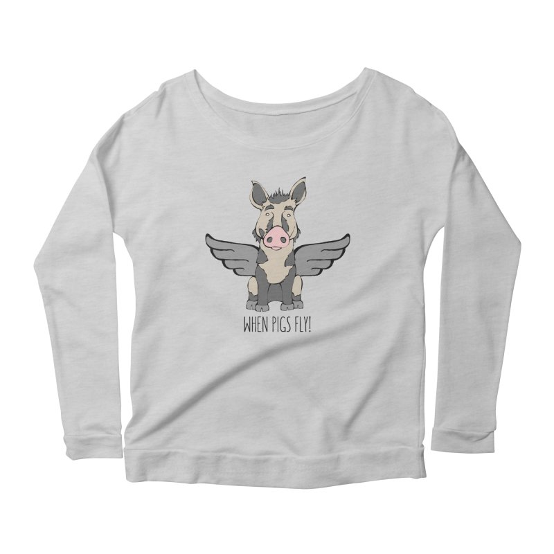 When Pigs Fly: Ossabaw Island Women's Scoop Neck Longsleeve T-Shirt by Angry Squirrel Studio
