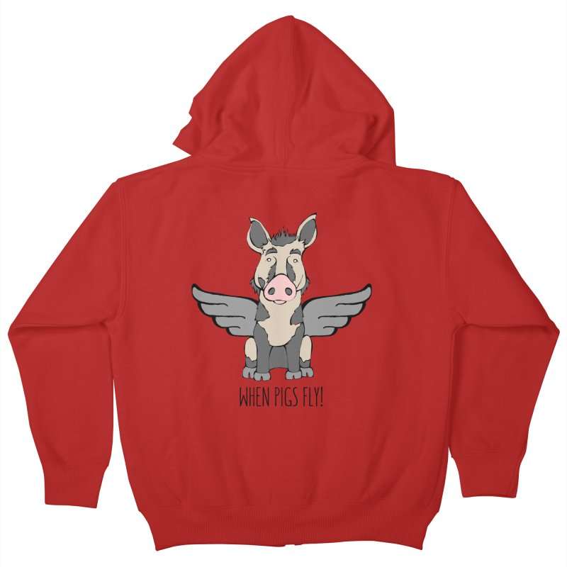 When Pigs Fly: Ossabaw Island Kids Zip-Up Hoody by Angry Squirrel Studio