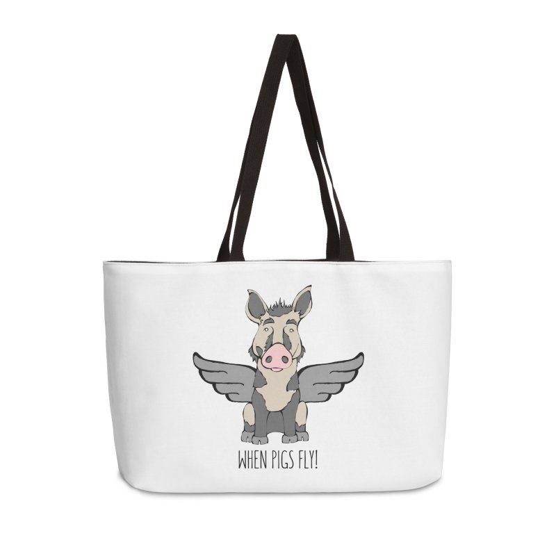 When Pigs Fly: Ossabaw Island Accessories Weekender Bag Bag by Angry Squirrel Studio