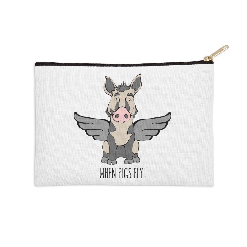 When Pigs Fly: Ossabaw Island Accessories Zip Pouch by Angry Squirrel Studio