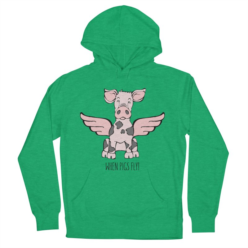 When Pigs Fly: Pietrain Women's French Terry Pullover Hoody by Angry Squirrel Studio