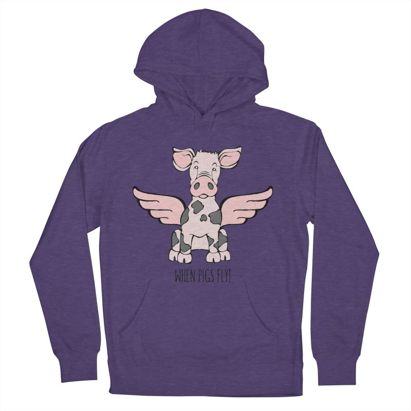When Pigs Fly: Pietrain Men's French Terry Pullover Hoody by Angry Squirrel Studio