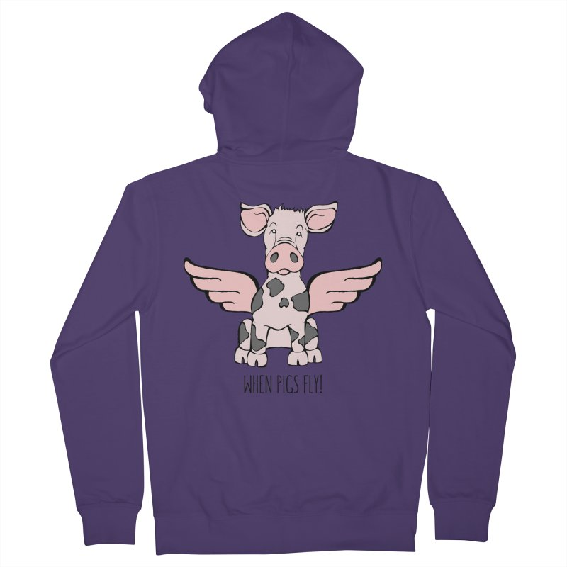 When Pigs Fly: Pietrain Women's Zip-Up Hoody by Angry Squirrel Studio