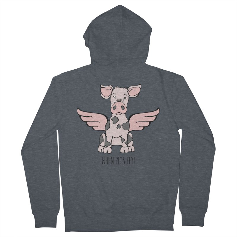 When Pigs Fly: Pietrain Men's French Terry Zip-Up Hoody by Angry Squirrel Studio