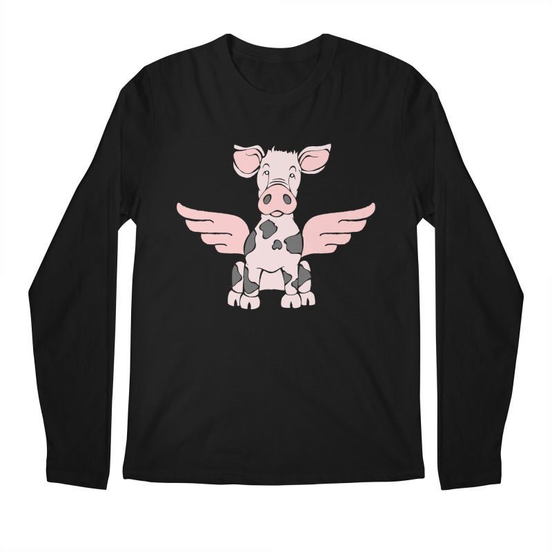 When Pigs Fly: Pietrain Men's Longsleeve T-Shirt by Angry Squirrel Studio