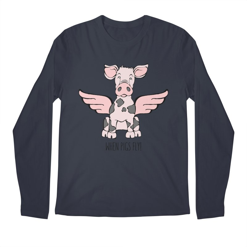 When Pigs Fly: Pietrain Men's Regular Longsleeve T-Shirt by Angry Squirrel Studio