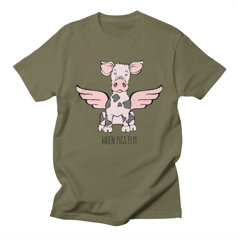 When Pigs Fly: Pietrain Women's Regular Unisex T-Shirt by Angry Squirrel Studio