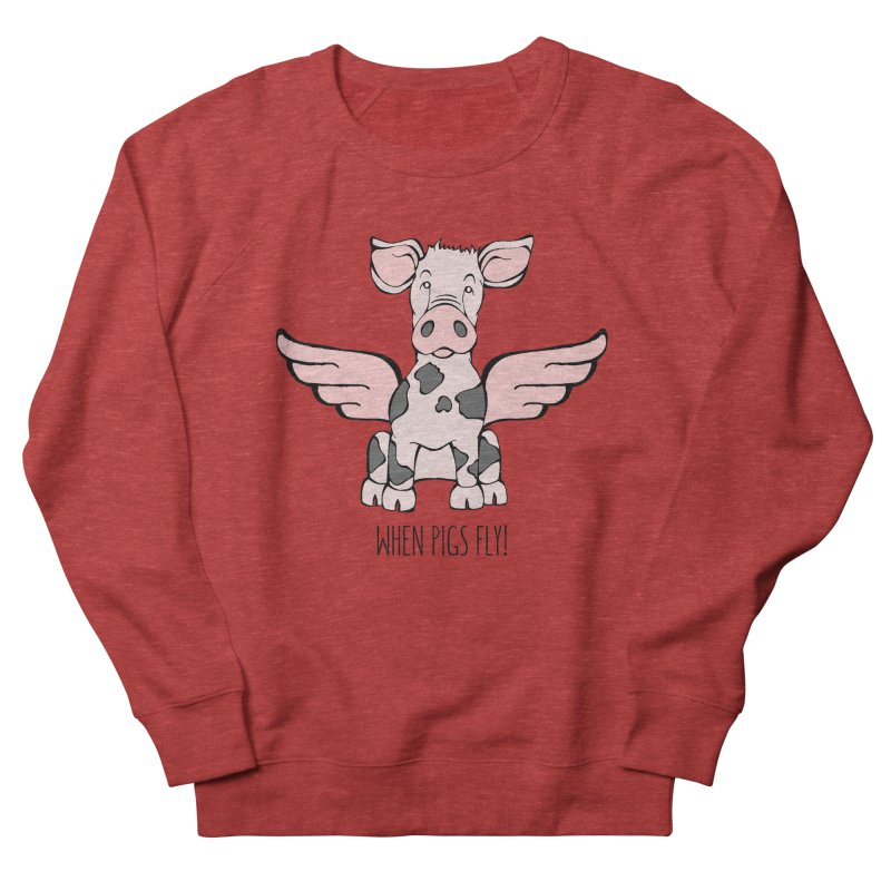 When Pigs Fly: Pietrain Women's French Terry Sweatshirt by Angry Squirrel Studio
