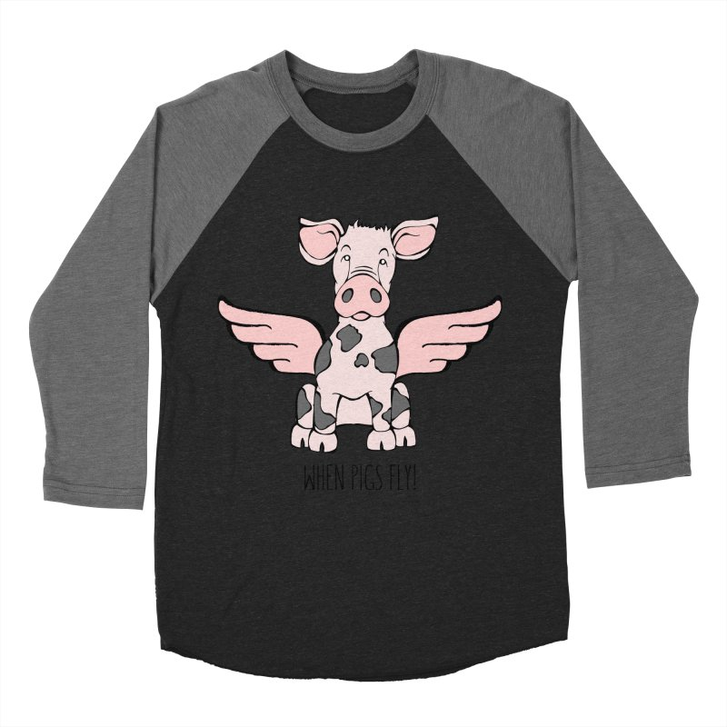 When Pigs Fly: Pietrain Women's Baseball Triblend T-Shirt by Angry Squirrel Studio
