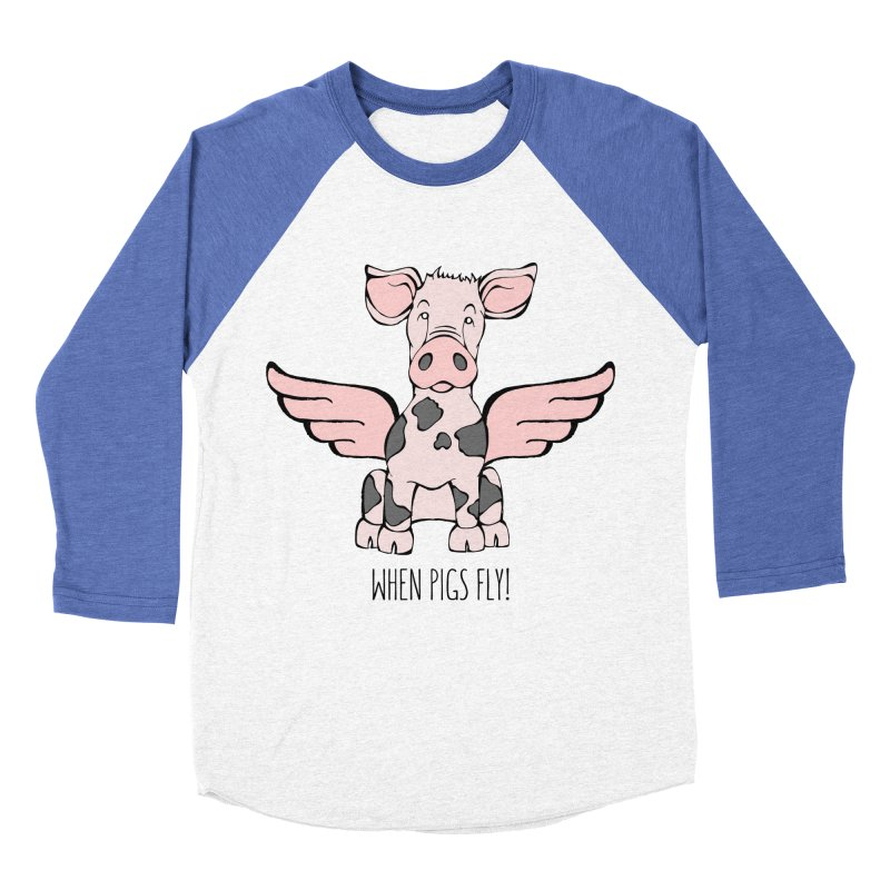 When Pigs Fly: Pietrain Men's Baseball Triblend Longsleeve T-Shirt by Angry Squirrel Studio