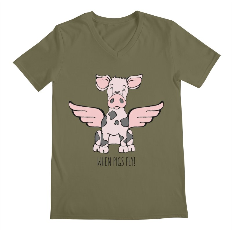When Pigs Fly: Pietrain Men's Regular V-Neck by Angry Squirrel Studio