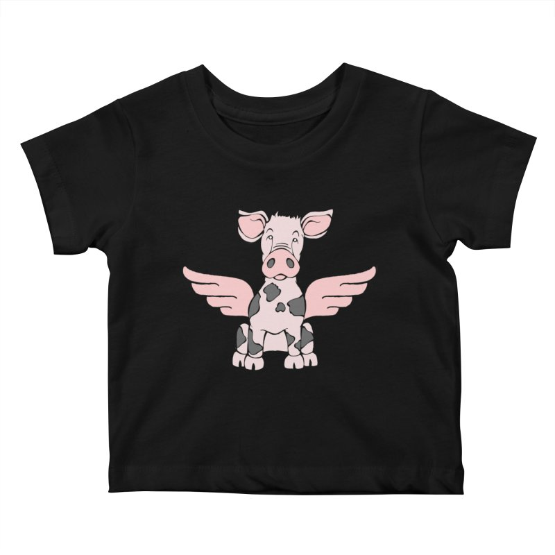 When Pigs Fly: Pietrain Kids Baby T-Shirt by Angry Squirrel Studio