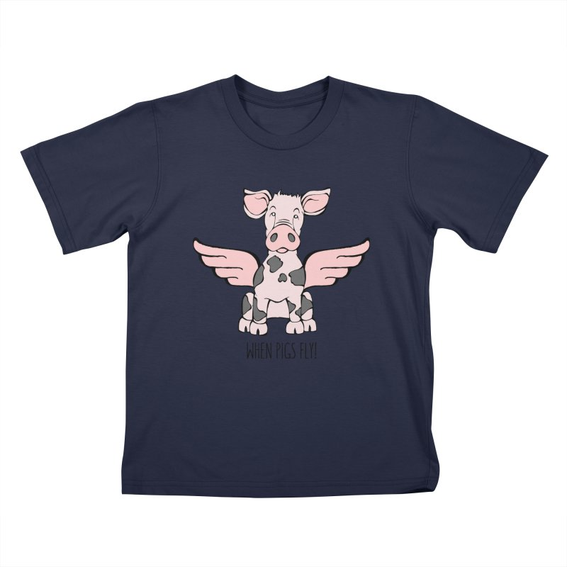 When Pigs Fly: Pietrain Kids T-Shirt by Angry Squirrel Studio