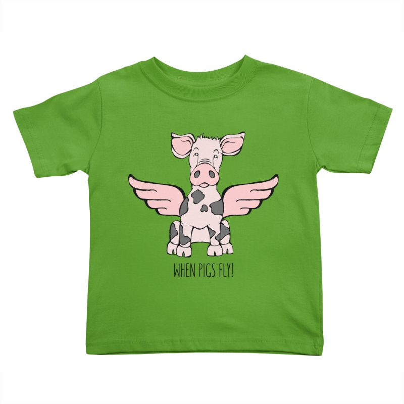 When Pigs Fly: Pietrain Kids Toddler T-Shirt by Angry Squirrel Studio