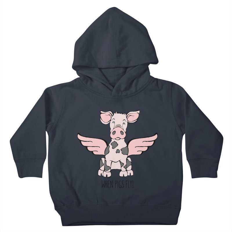 When Pigs Fly: Pietrain Kids Toddler Pullover Hoody by Angry Squirrel Studio