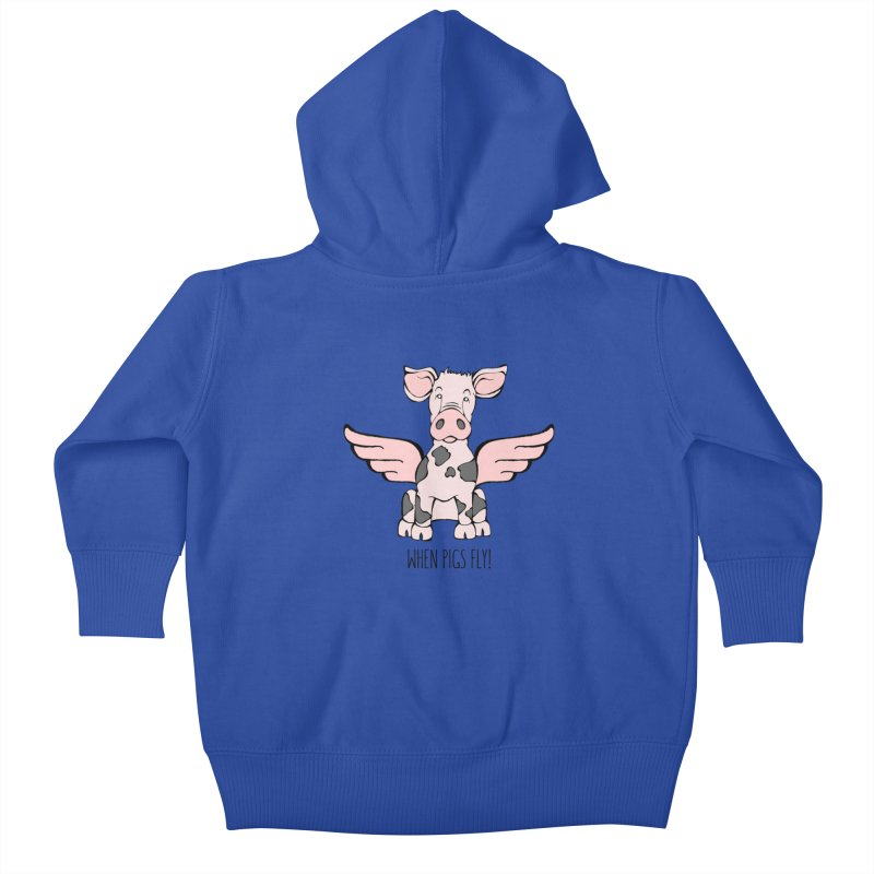 When Pigs Fly: Pietrain Kids Baby Zip-Up Hoody by Angry Squirrel Studio