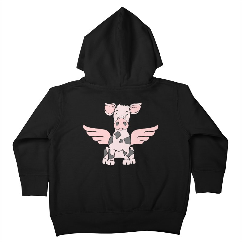 When Pigs Fly: Pietrain Kids Toddler Zip-Up Hoody by Angry Squirrel Studio