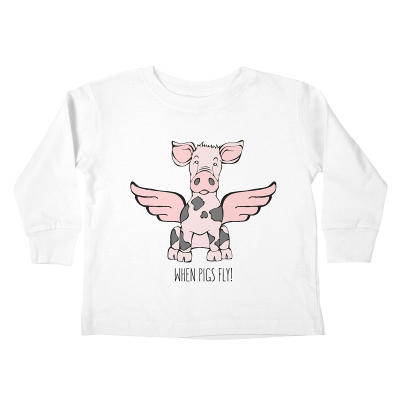 When Pigs Fly: Pietrain Kids Toddler Longsleeve T-Shirt by Angry Squirrel Studio