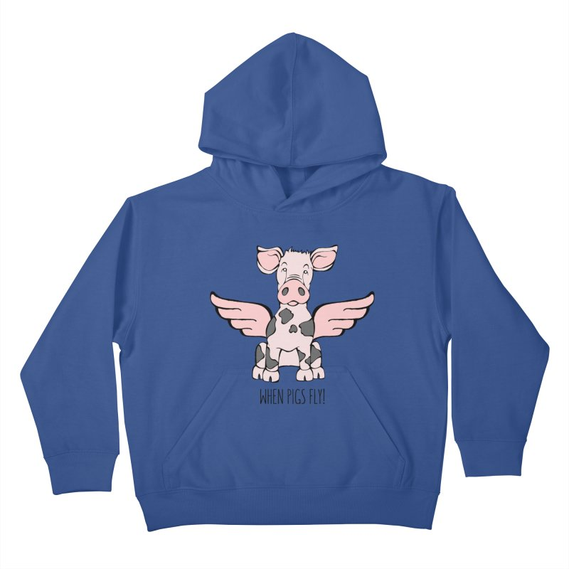 When Pigs Fly: Pietrain Kids Pullover Hoody by Angry Squirrel Studio