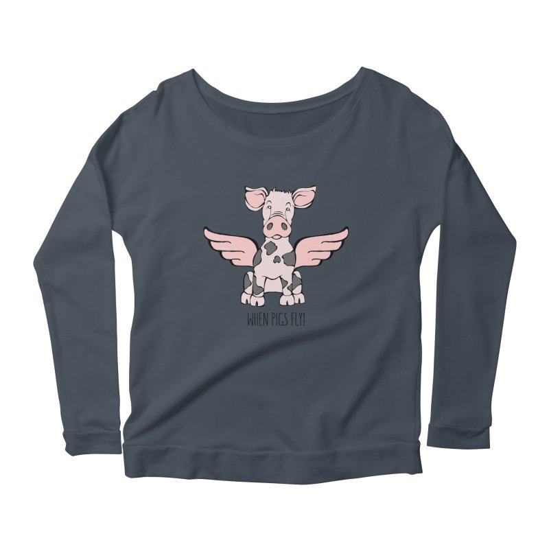 When Pigs Fly: Pietrain Women's Scoop Neck Longsleeve T-Shirt by Angry Squirrel Studio