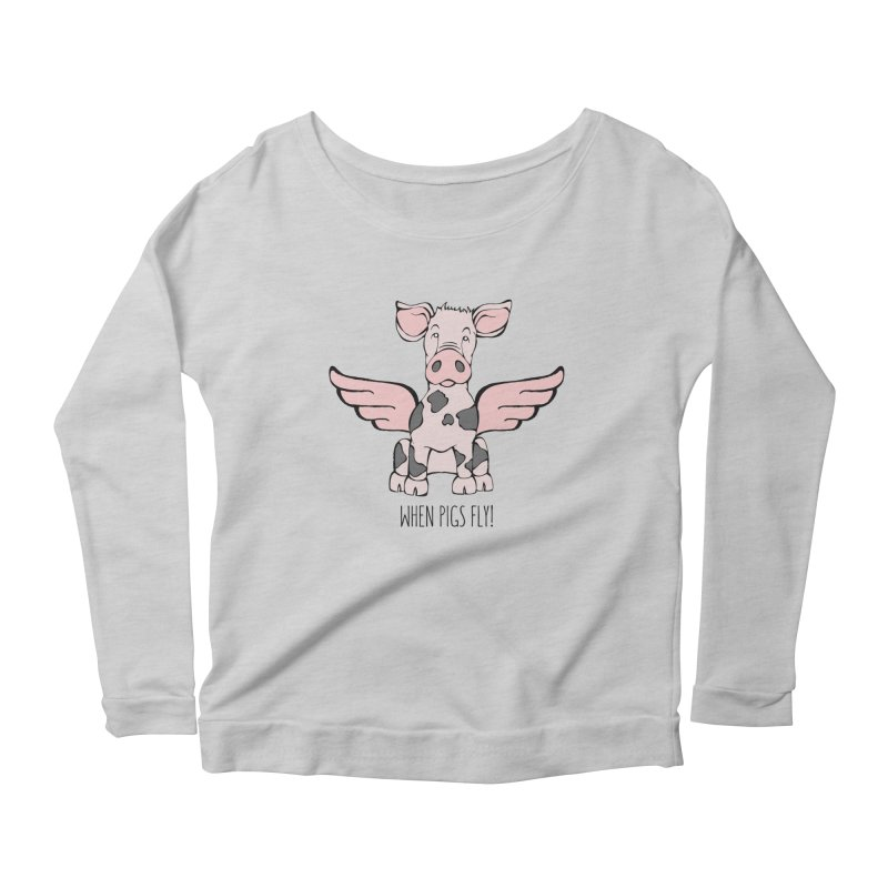 When Pigs Fly: Pietrain Women's Longsleeve Scoopneck  by Angry Squirrel Studio