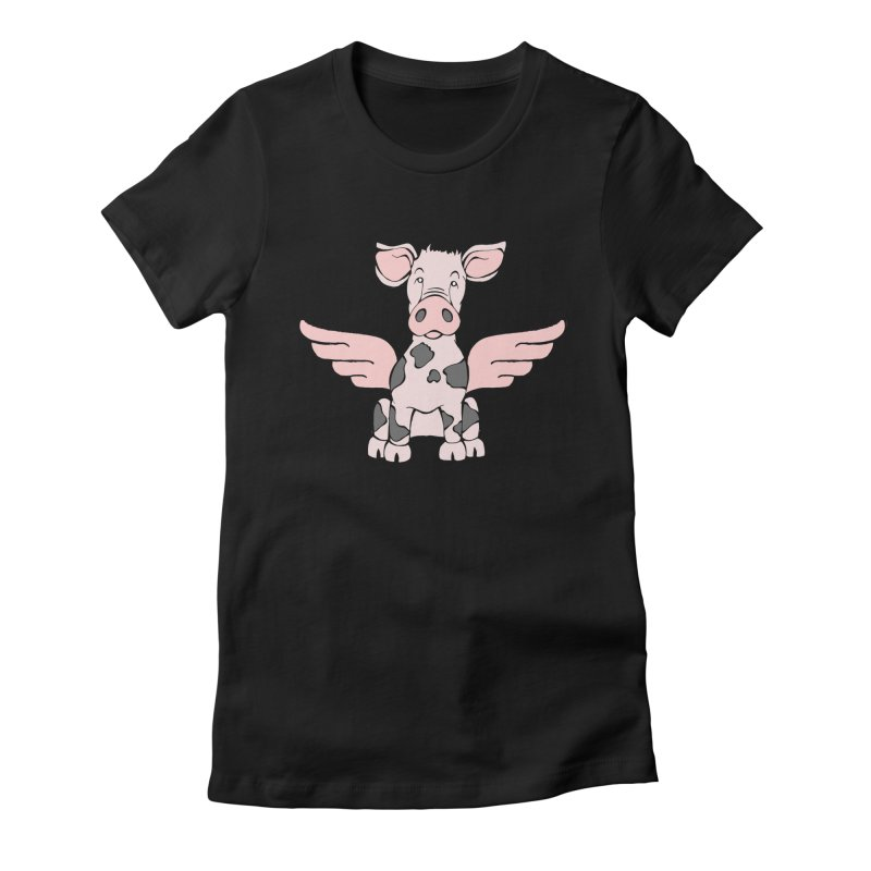 When Pigs Fly: Pietrain Women's Fitted T-Shirt by Angry Squirrel Studio