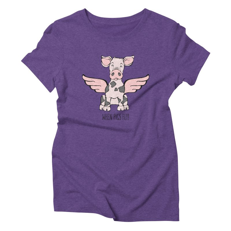 When Pigs Fly: Pietrain Women's Triblend T-Shirt by Angry Squirrel Studio
