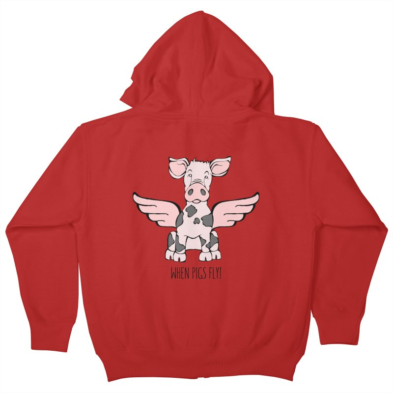 When Pigs Fly: Pietrain Kids Zip-Up Hoody by Angry Squirrel Studio