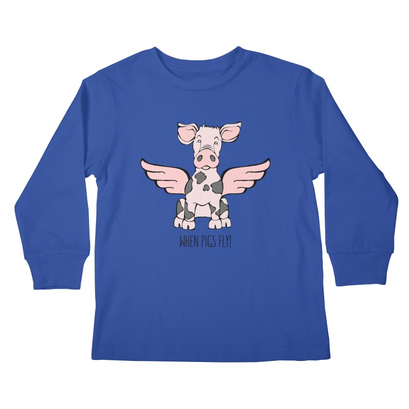 When Pigs Fly: Pietrain Kids Longsleeve T-Shirt by Angry Squirrel Studio