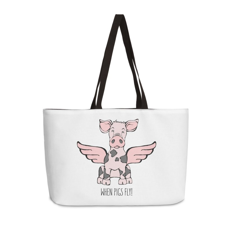 When Pigs Fly: Pietrain Accessories Weekender Bag Bag by Angry Squirrel Studio