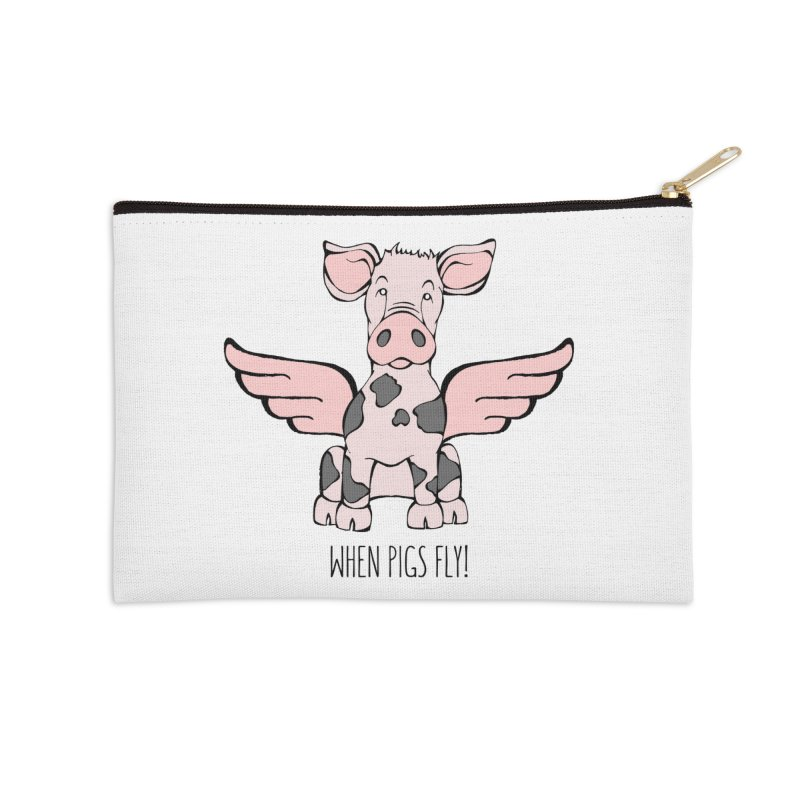 When Pigs Fly: Pietrain Accessories Zip Pouch by Angry Squirrel Studio