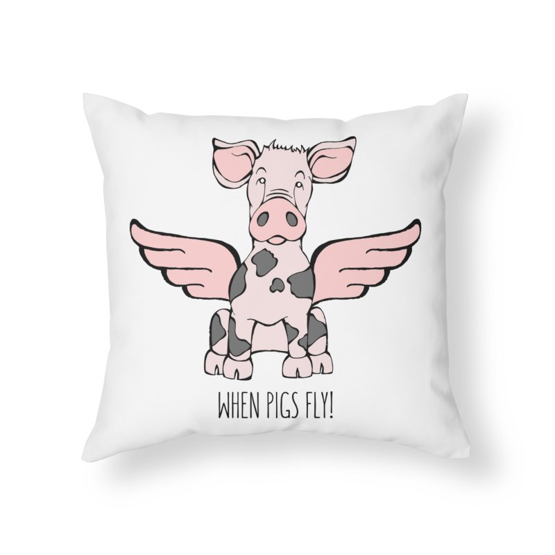 When Pigs Fly: Pietrain Home Throw Pillow by Angry Squirrel Studio
