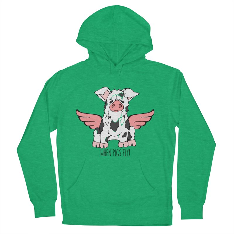 When Pigs Fly: KuneKune Men's French Terry Pullover Hoody by Angry Squirrel Studio