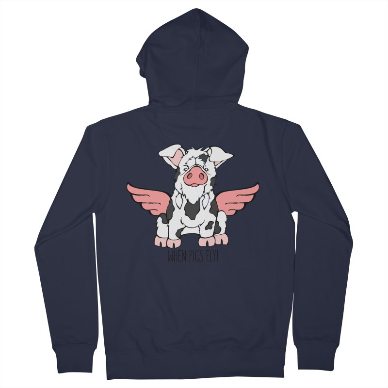 When Pigs Fly: KuneKune Men's French Terry Zip-Up Hoody by Angry Squirrel Studio