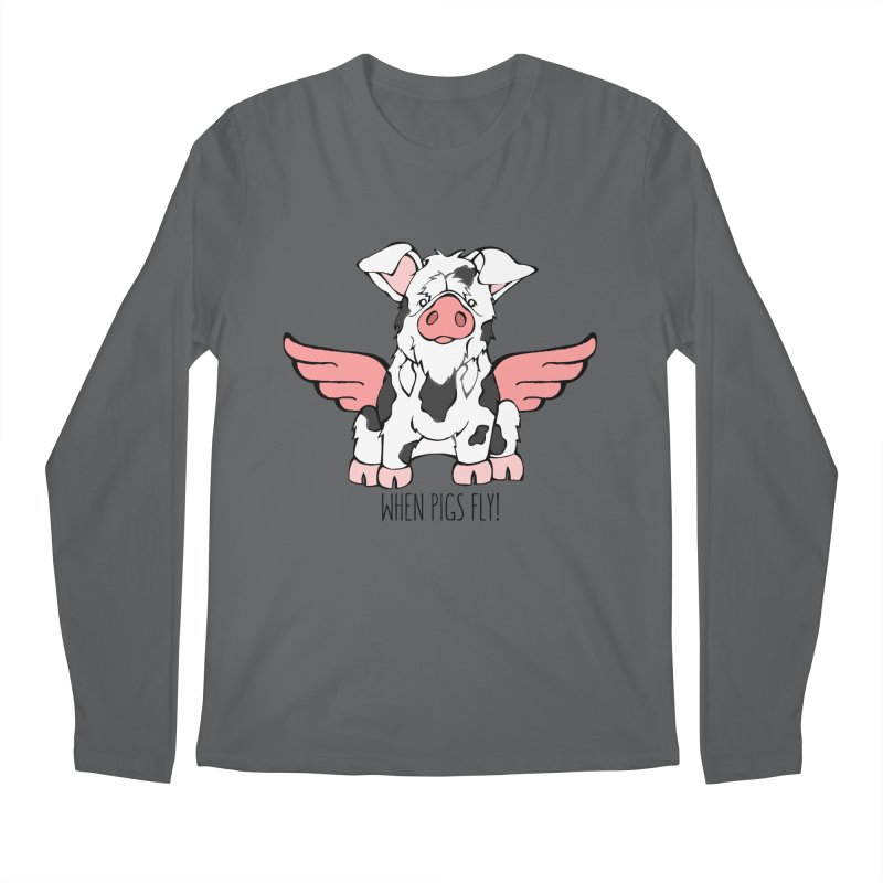 When Pigs Fly: KuneKune Men's Longsleeve T-Shirt by Angry Squirrel Studio