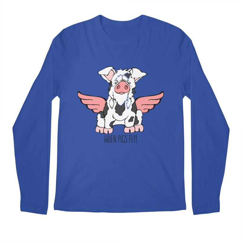 When Pigs Fly: KuneKune Men's Regular Longsleeve T-Shirt by Angry Squirrel Studio