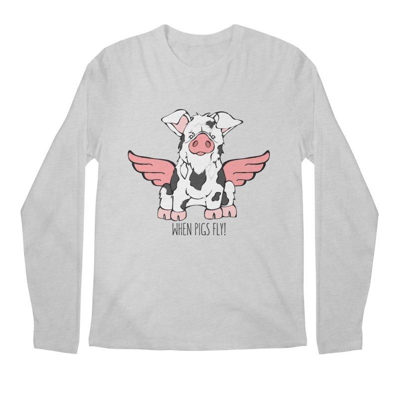 When Pigs Fly: KuneKune Men's Longsleeve T-Shirt by Angry Squirrel Studio