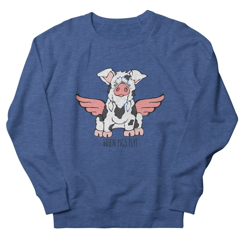 When Pigs Fly: KuneKune Women's French Terry Sweatshirt by Angry Squirrel Studio