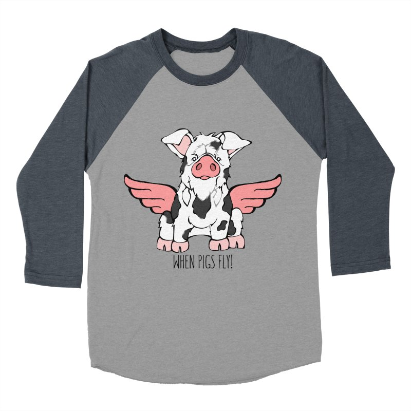 When Pigs Fly: KuneKune Women's Baseball Triblend T-Shirt by Angry Squirrel Studio