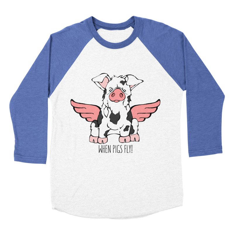 When Pigs Fly: KuneKune Men's Baseball Triblend Longsleeve T-Shirt by Angry Squirrel Studio