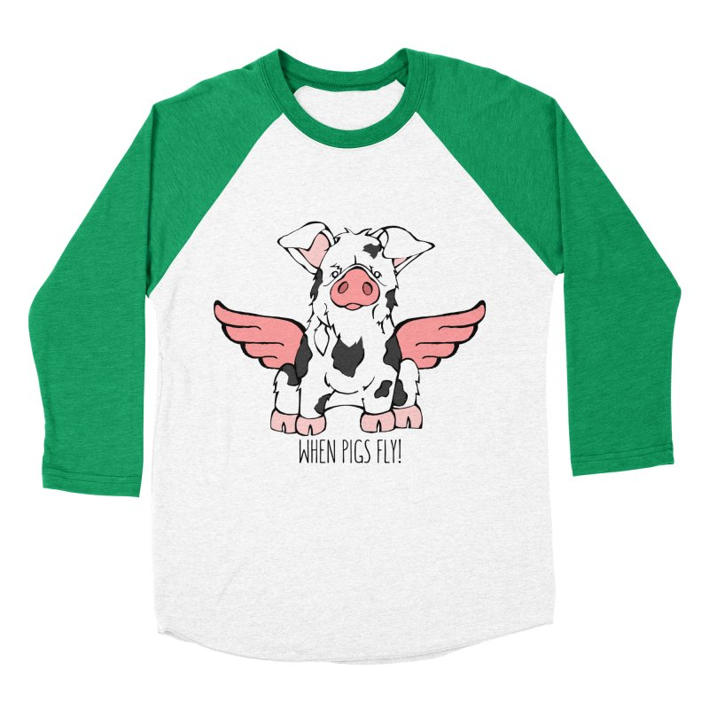 When Pigs Fly: KuneKune Men's Baseball Triblend T-Shirt by Angry Squirrel Studio