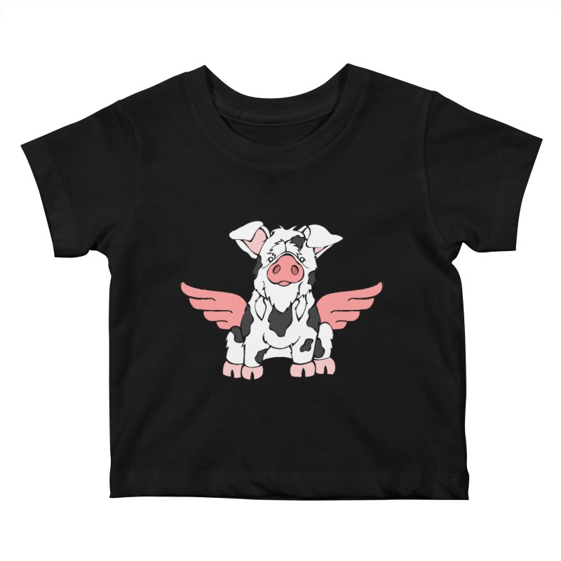 When Pigs Fly: KuneKune Kids Baby T-Shirt by Angry Squirrel Studio