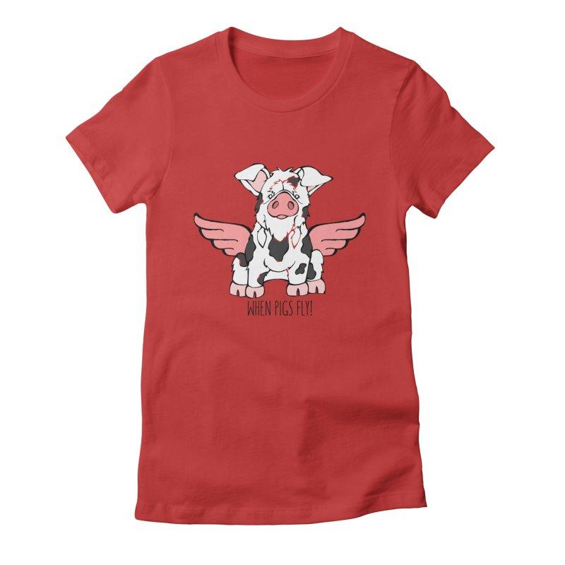 When Pigs Fly: KuneKune Women's T-Shirt by Angry Squirrel Studio