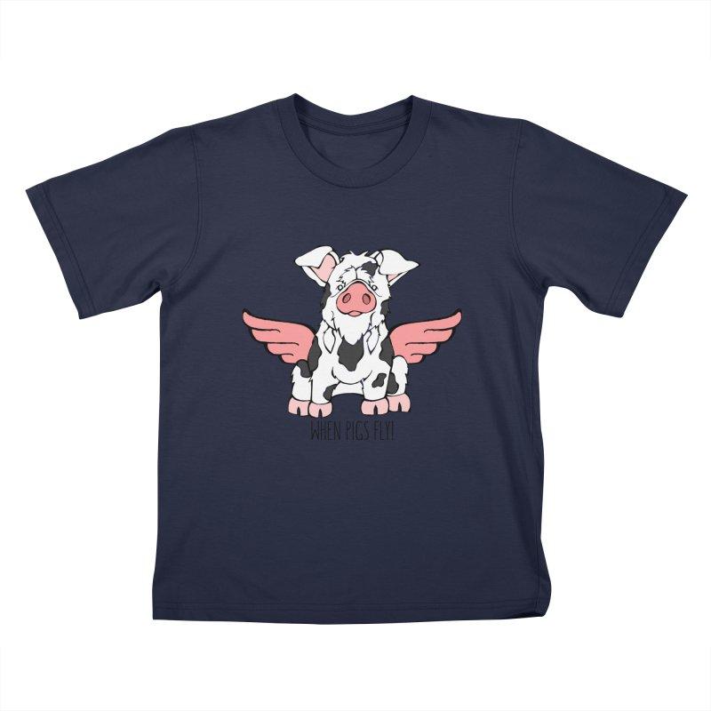 When Pigs Fly: KuneKune Kids T-Shirt by Angry Squirrel Studio