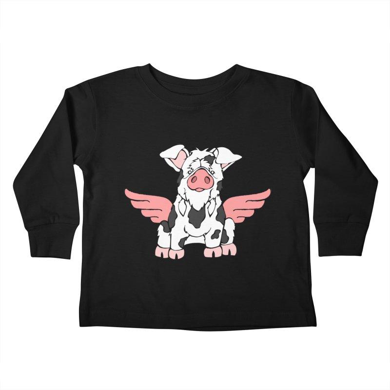 When Pigs Fly: KuneKune Kids Toddler Longsleeve T-Shirt by Angry Squirrel Studio