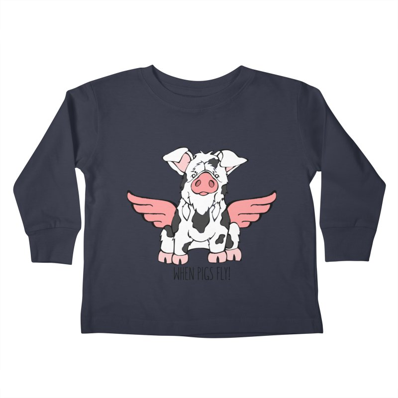 When Pigs Fly: KuneKune Kids Toddler Longsleeve T-Shirt by Angry Squirrel Studio