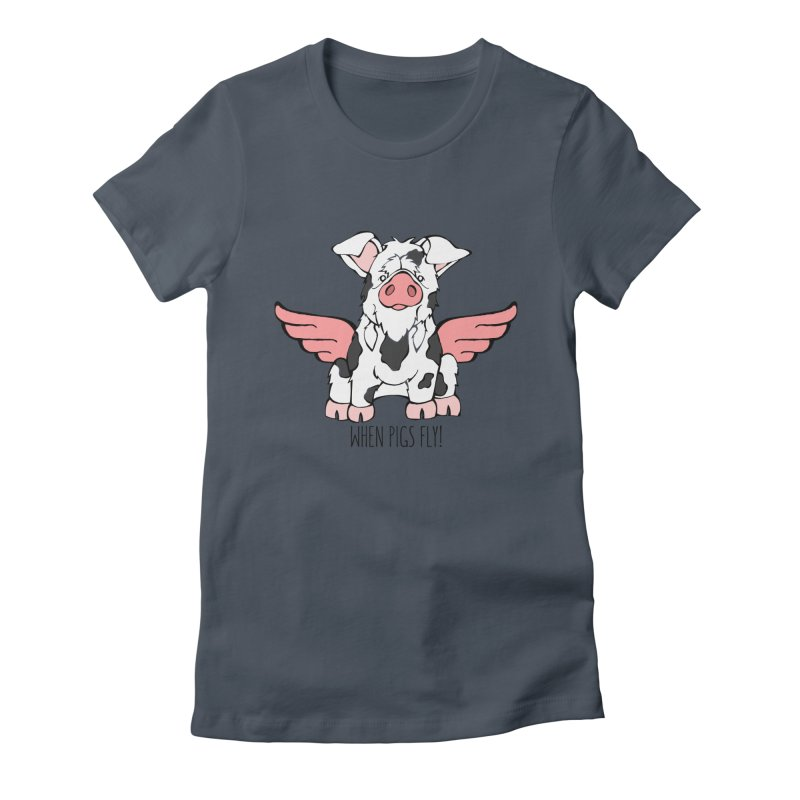 When Pigs Fly: KuneKune Women's T-Shirt by Angry Squirrel Studio